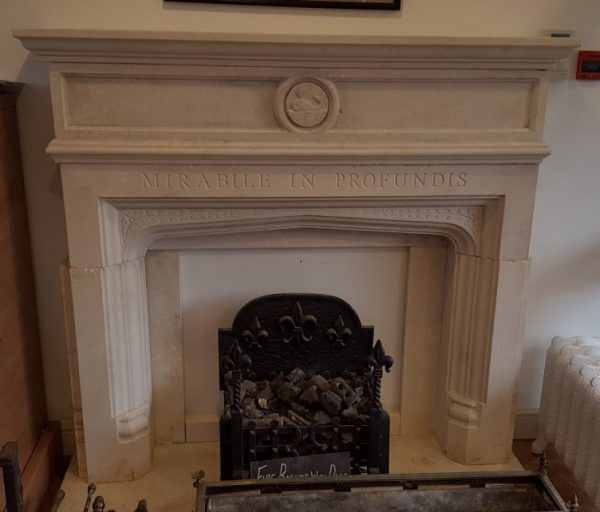 Reclaimed Carved Limestone Fireplace