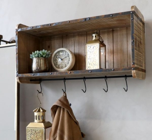 Recycled Wood Rustic shelf with hooks