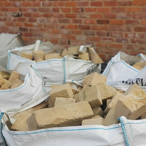 Tonne bags of limestone building stone