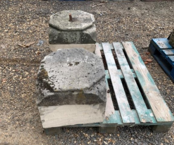 Two section square sandstone base plinths