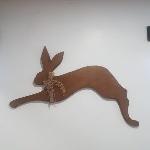 Wall hanging handmade wooden hare