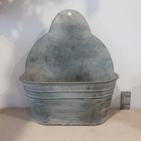 Zinc effect wall hanging flowerpot