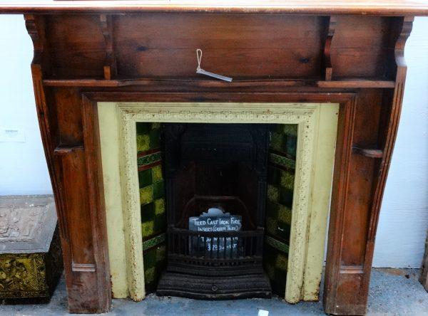 Cast Iron Fire Insert Green Tile Detailing