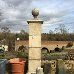 Reconstituted Stone 4 Section Gate Post with Ball Finial.