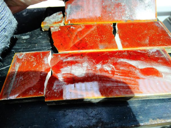 Amber Tiles Damaged for Cast Iron Fireplace
