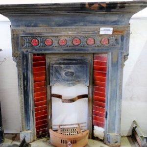 Tiled Cast Iron Fireplace with Mantel flower detail