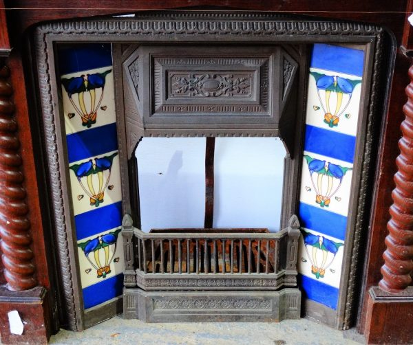 Tiled Cast Iron Fire Insert Blue and Cream Tile Decoration