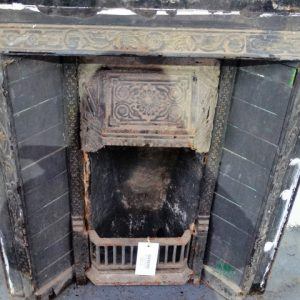 Black Painted Tiled Cast Iron Fire Insert
