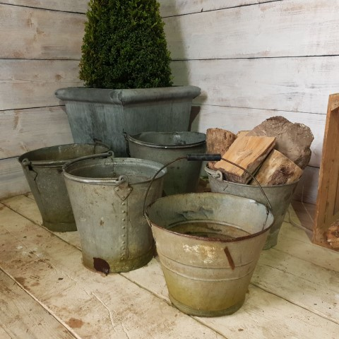 Galvanised Reclaimed Bucket Planters