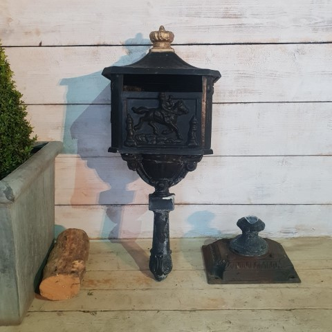 Horse and Rider Cast Iron Letter Box
