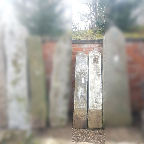 Pair reclaimed well weathered yorkstone posts with a pyramid style top