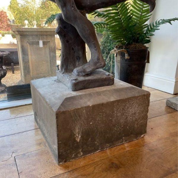 Reclaimed Lead Garden Statue on Stone Base