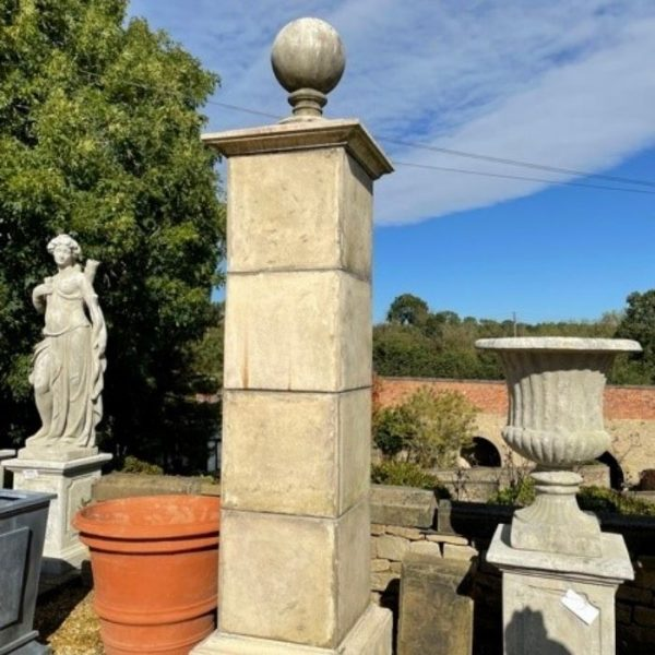 Reconstituted Stone 4 section Gate Post with Ball Finial