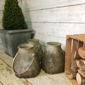 Reclaimed small milk churns