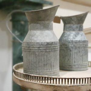 Antique Zinc Effect Jug Vase