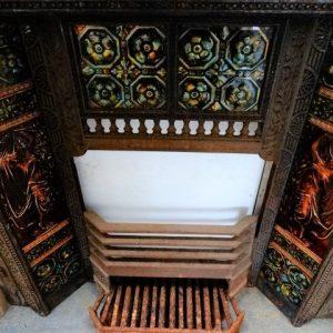 Tiled Cast Iron Fireplace (Green / Brown tiles) 960mm W x 990mm H
