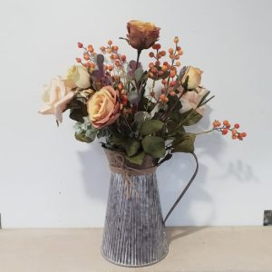 Bouqet of Rustic Coloured Flowers in Zinc Vase
