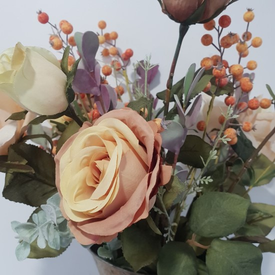 Faux Flower Arrangement for Cottage Home