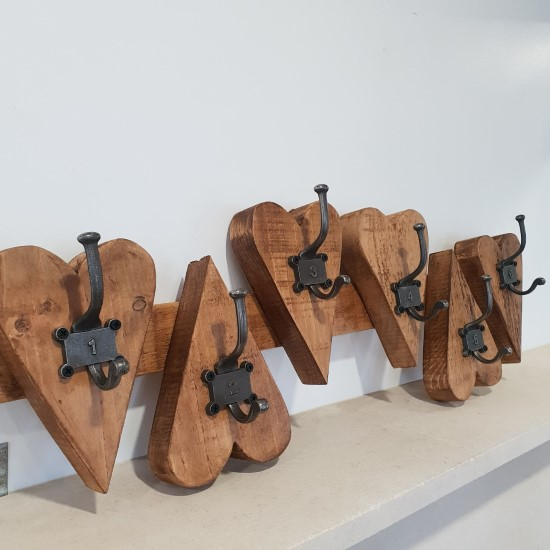 Handmade heart shaped wooden coat rack