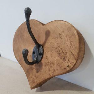 Handmade wooden heart shaped hook
