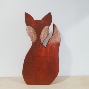 Handpainted Wooden Fox Decoration Front View