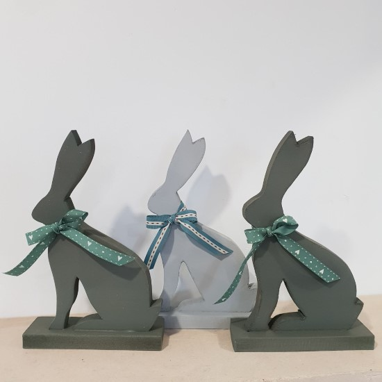 Small Wooden Rabbit Models Painted in Green and Blue