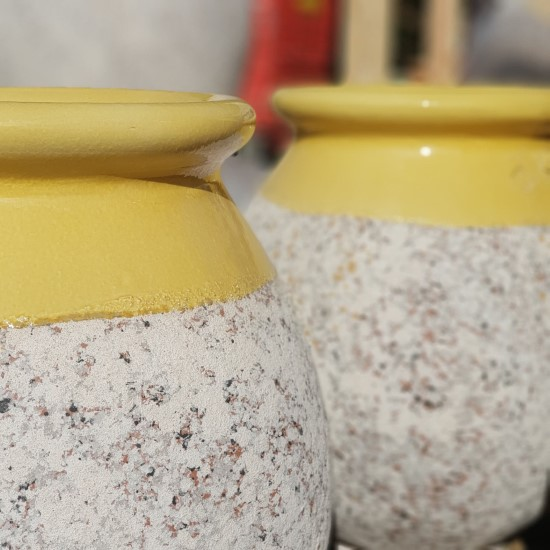Tear Drop Shaped Pair Yellwo Glazed Pots