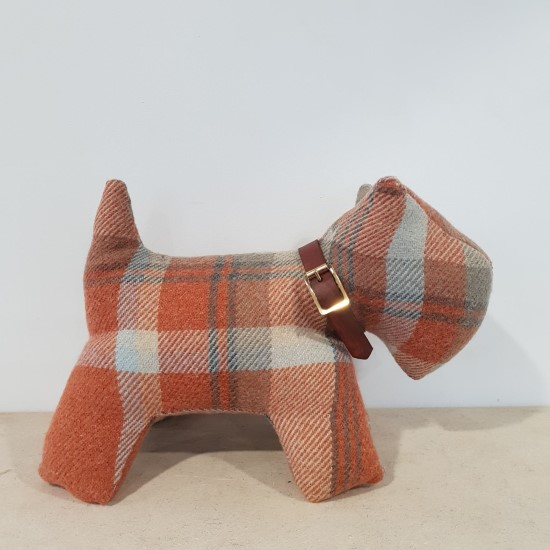 Tartan Fabric Dog Doorstop