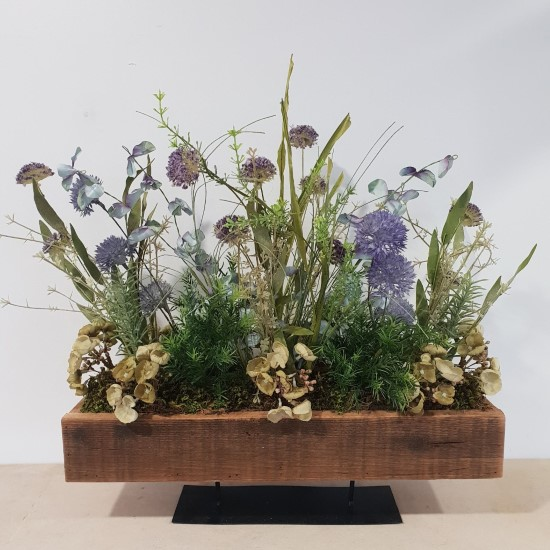Wooden Trough of Faux wildflowers
