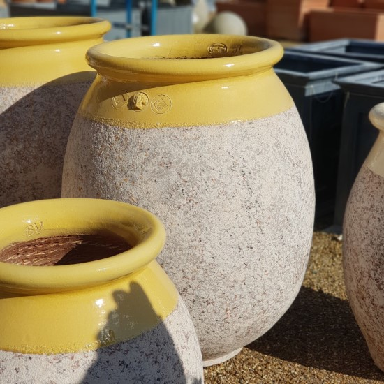 Yellow and Stone Olive jars Extra Large