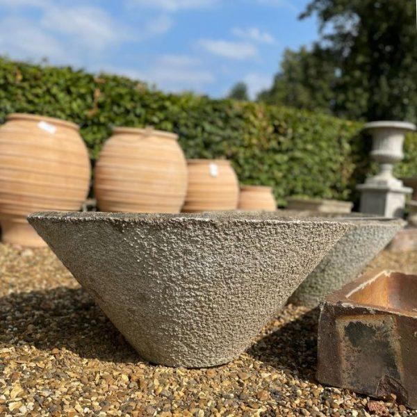 Large conical shaped concrete pot