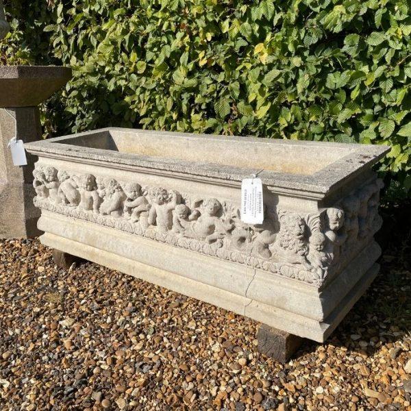 Reclaimed Reconstituted Limestone Cherub Trough