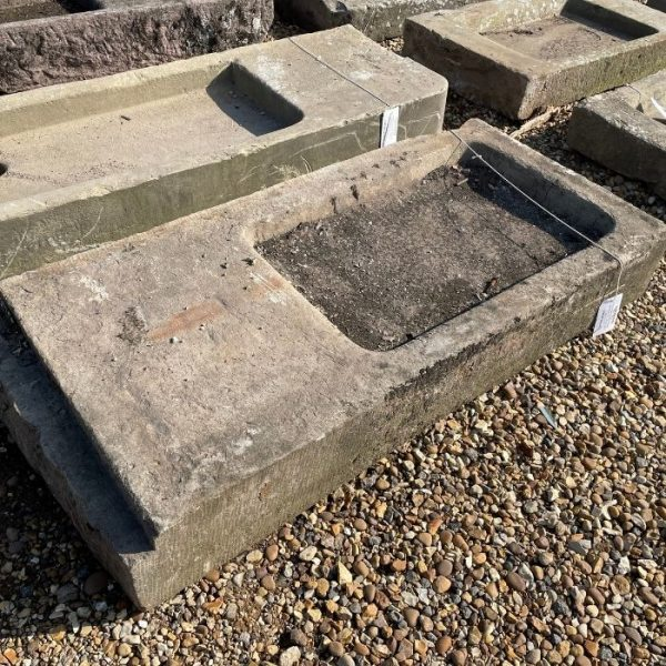 Reclaimed Yorkstone Sink with Salting Table 8H x 52W x 24D