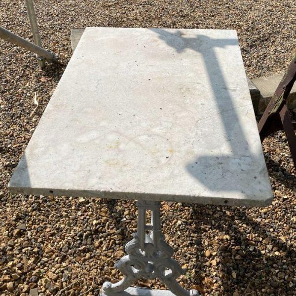 Rectangular Marble Top Garden Table on Cast Iron Legs