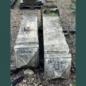 Pair of Reclaimed Yorkstone Posts with Pyramid Style Top